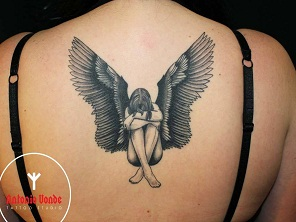 Antonio vonde tattoo studio maribor dark sad angel black grey tattoo – žalostni temačni angel