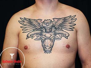 Antonio vonde tattoo studio maribor owl on bull chestpiece tattoo – sova in bik na prsih