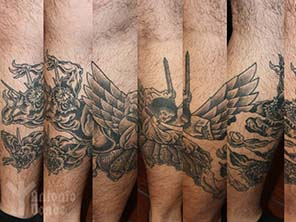 Antonio vonde tattoo studio maribor japanese irezumi angel and demons on leg tattoo – japonski angel in demoni na nogi