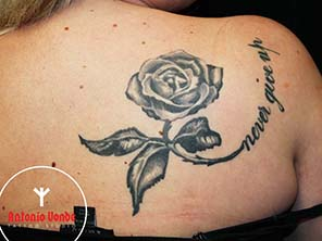 Antonio vonde tattoo studio maribor black grey rose never give up tattoo - črna vrtnica siva napis