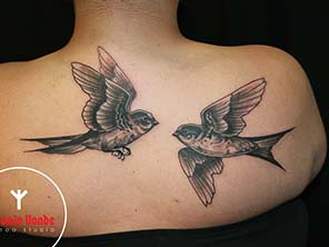 Antonio vonde tattoo studio maribor black grey back birds swallow - lastovka hrbet lastovke